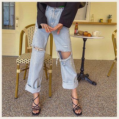 。Styleon。正韓。個性割破設計高腰牛仔長褲。韓國連線。韓國空運。0331。【ic29liph4271】