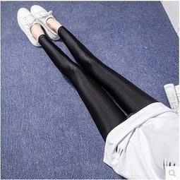 【拉拉Lalas shop】春夏款薄款彈力女士黑色小腳緊身褲顯瘦光澤褲外穿打底褲(九分)69