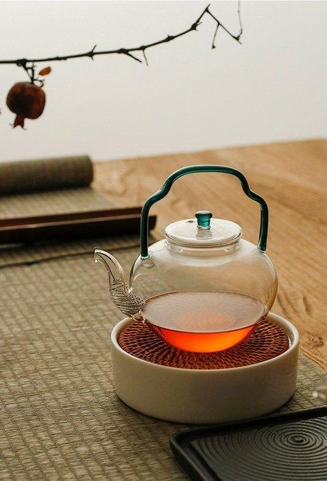【茶嶺古道】仿宋 琉璃提樑玻璃壺(2色) / 復古 彩色 耐熱玻璃 不鏽鋼濾網 提梁 茶壺 花茶壺