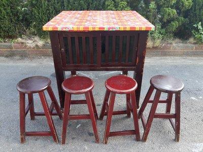 彰化二手貨中心(原線東路二手貨) --早期方型桌  1桌4椅早期吃飯桌椅組 吃飯桌