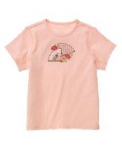 (((出清特價))) 美國 JANIE AND JACK 花朵刺繡粉紅色扇子棉T (7yrs)