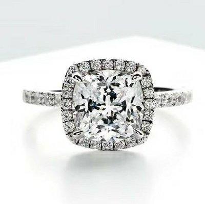 進口莫桑鑽18k金包鉑金戒檯微鑲D色肥方型三克拉莫鑽石戒指保證通過測鑽附保卡求婚 結婚 情人節禮物摩星鑽ZB鑽寶促銷訂製