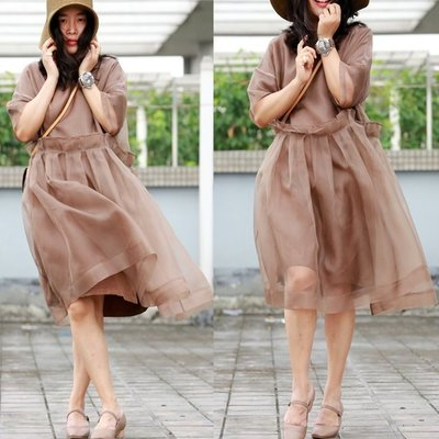 【子芸芳】設計師款定制真絲歐根紗超酷氣質裙袍  一雙人