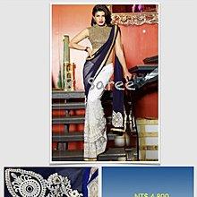 8. 性感藍白 Mix Saree 寶萊塢明星風格莎麗 印度舞衣紗麗 Sari