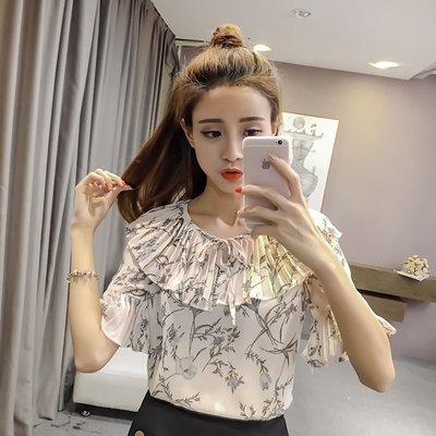 韩版宽松春夏装新款印花雪纺衫荷叶边淑女系带碎花衬衫女短袖上衣