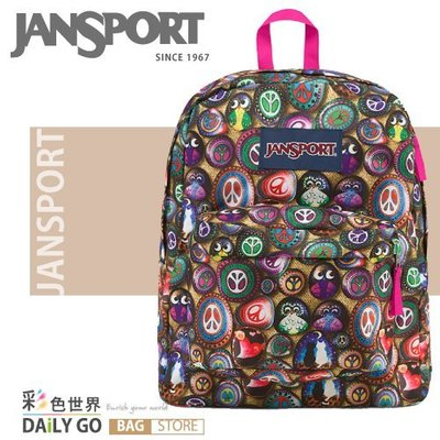 JANSPORT後背包包大容量防潑水書包彩色世界JS-43501-0AF尋找貓頭鷹