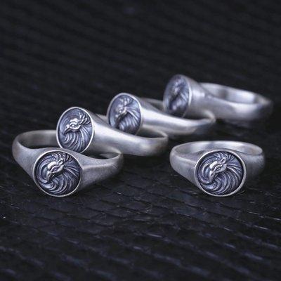 【Silver Monsters】 日本雕畫雙絕Dual Flow 熱銷款式鳳凰渦戒指