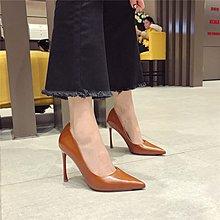 2018春季新款尖頭淺口簡約時尚百搭漆皮潮流氣質性感高跟女單鞋潮