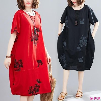 新款文藝大碼女裝 寬鬆印花連身裙 依多多ˉ—ˉ【E視界】