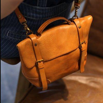 【極簡時尚】真皮手提包斜跨包郵差包復古做舊植鞣牛皮單肩包