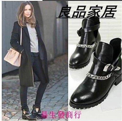 【易生發商行】來自星星的妳千頌伊同款 秋款女單靴歐美真皮馬丁靴女靴英倫F5985