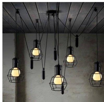 【易發生活館】設計師的燈簡約現代餐廳客廳吊燈美式鄉村燈具創意升降複古小鐵籠
