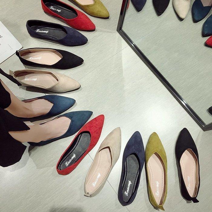 小尤家~網紅單鞋女春款百搭尖頭淺口絨面平底瓢鞋韓版學生時尚豆豆鞋