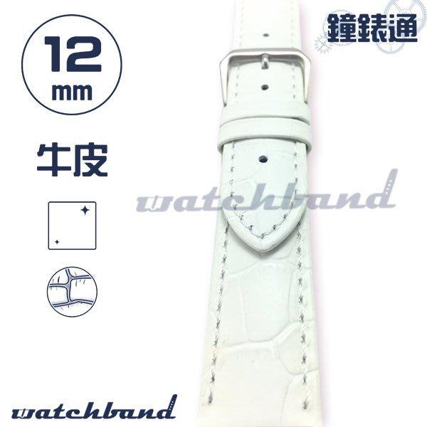 【鐘錶通】C1-80AR《簡約系列》大花鱷魚紋-12mm 簡約白  /手錶錶帶/大花鱷魚紋/牛皮錶帶/