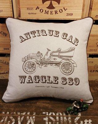 復古車3(C款) 麂皮手工抱枕 : 車 古典 工業風 純手工 抱枕 居家 裝飾 家飾 麂皮 : waggle889