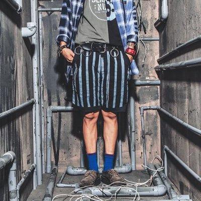 美國東村【SLIGHTLY NUMB】ALIGHT SHORTS 手繪 油漆 直條 印花 短褲