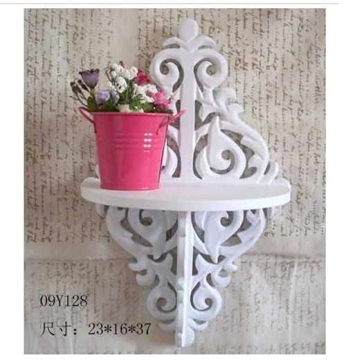 粉紅玫瑰精品屋~田園風格 白色 鏤空 壁掛 壁架 擱板 牆掛 置物架~現貨