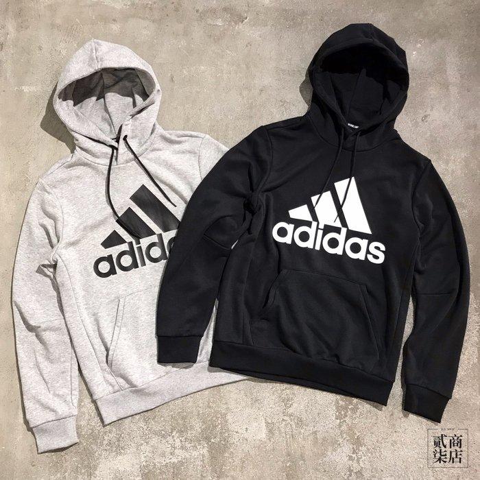 (貳柒商店) adidas MH Ess Hoodie 男款 基本款 帽T 棉質 灰色 DT9947 黑色 DQ1461