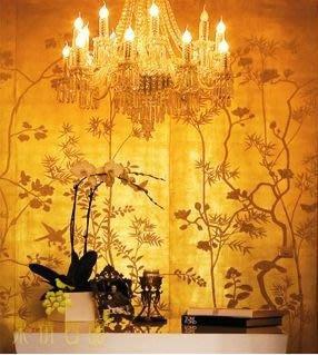 【芮洛蔓 La Romance】手繪絲綢金銀箔壁紙 H15 - 金