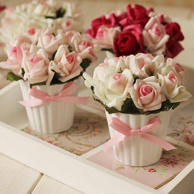 【愛麗絲生活家飾雜貨】zakka鄉村風手感幸福玫瑰仿真花盆栽擺飾(小款)