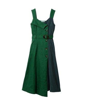日本 REDYAZEL 復古拼接吊帶排釦洋裝+腰帶SET (綠色S號,全新未拆牌,現貨)
