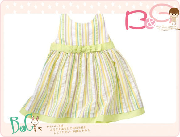 【B& G童裝】正品美國進口GYMBOREE綠色直條紋泡泡紗背心裙18-24mos