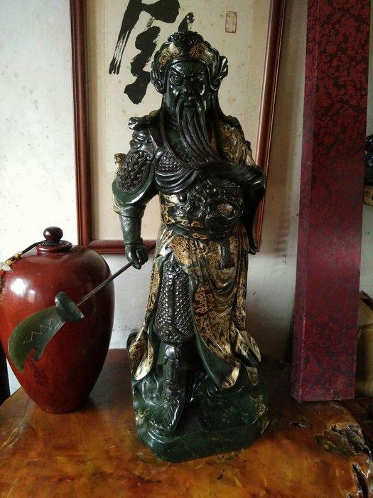 拼人氣.早期收藏,西安翡翠綠帝王綠 .罕見名貴石種,整件玉石雕,忠義關公,關聖帝君