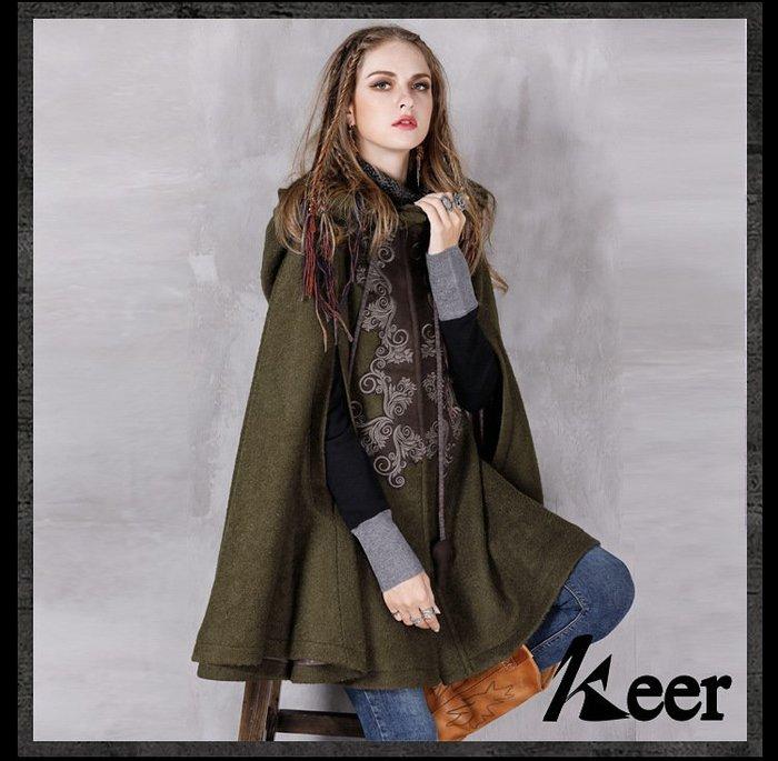 【子芸芳】冬裝新款毛呢寬鬆外套披風 民族風刺繡加厚呢子大衣