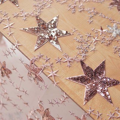 橙子的店 W140粉紫色五角星亮片立體刺繡軟網紗蕾絲布料輔料時裝面料輔料