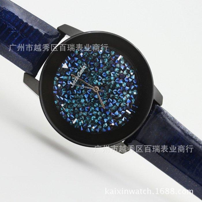 【優上精品】韓國韓版女生手表大表盤女 滿鉆真皮帶時裝表裝飾手表女(Z-P3189)