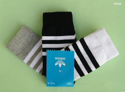 INDiCE ↗ ADIDAS ORIGINALS THIN CREW 經典三線中筒休閒襪 AZ0161 三件組 黑灰白