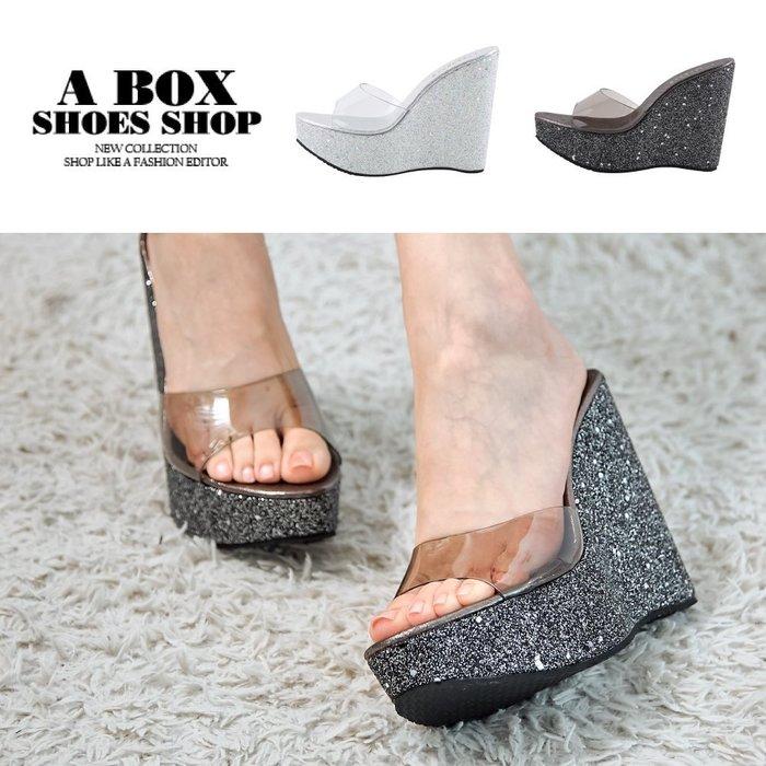 格子舖*【KD979】12.5CM楔型涼鞋 優雅氣質超高跟厚底鞋 亮片亮粉透明材質 MIT台灣製 2色