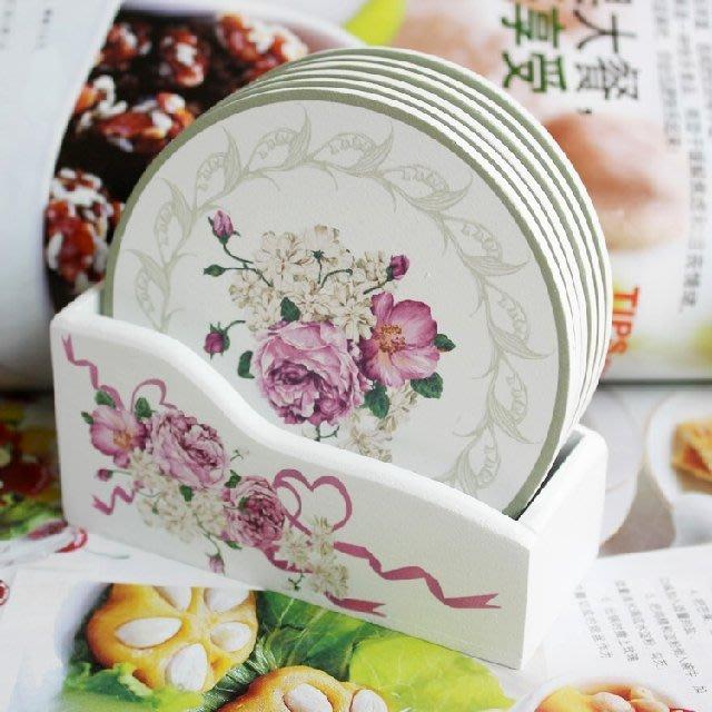 粉紅玫瑰精品屋~優雅牡丹 圓形木質牡丹杯墊 隔熱墊套裝~