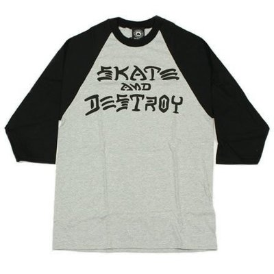 【THRASHER】SKATE & DESTROY 七分袖 (黑/灰)