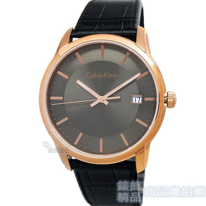 Calvin Klein CK K5S316C3 經典永恆 薄型玫瑰金框 黑色壓紋皮帶男錶【錶飾精品】