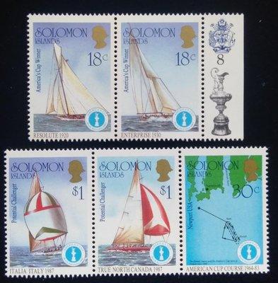 所羅門群島Solomon Islands郵票帆船郵票(Sailboat)1987年發行#3608全新特價
