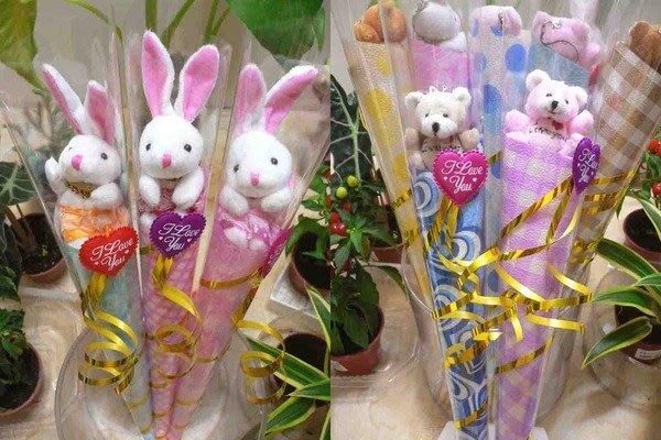 歡樂時光~夏威夷兔&超Q長毛熊甜筒花束~二次進場~婚禮小物~開幕送客禮品~畢業~慶生日禮