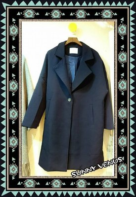 ❤ ㊣✈ 韓國  ✈㊣ - 款披風長版大衣西裝外套 - 深藍 ♞ ㊕  款單品   ㊕ ❤