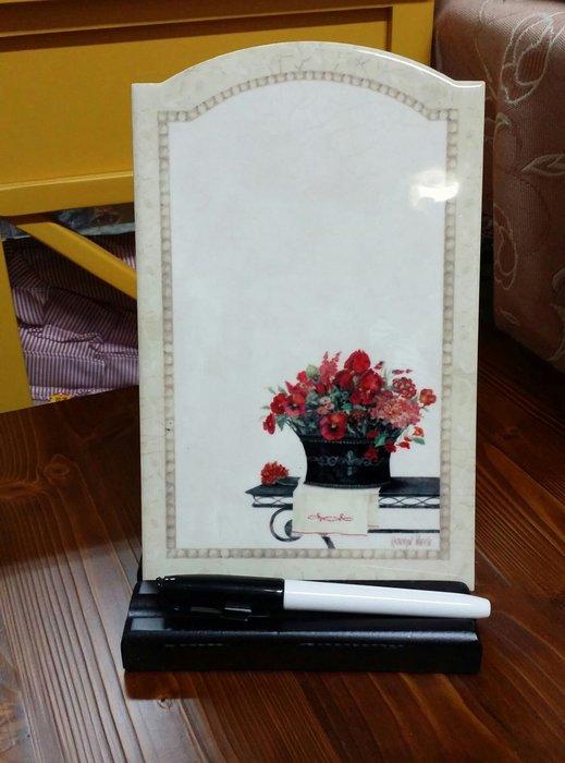 美生活館 -- 全新 鄉村風 陶瓷 寫字板 留言板 菜單 memo 白板筆 可放桌面也可掛牆面-- A 款