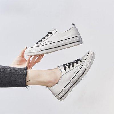 柒柒KR 正韓街拍小白鞋子女2019夏時尚低跟休閒鞋頭層真皮平底板鞋