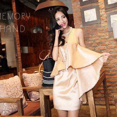 洋裝  #D-031 圓領無袖多層次裙擺設計款