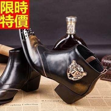 尖頭皮鞋 真皮短靴子-帥氣的老虎頭鉚釘擦色個性增高男鞋子65ai49[獨家進口][米蘭精品]