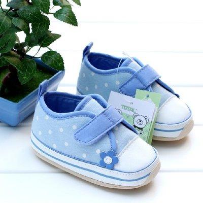 森林寶貝屋~膠底藍花公主鞋~學步鞋~嬰...