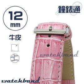 【鐘錶通】C1.31I《亮彩系列》鱷魚格紋-12mm 蜜桃粉┝手錶錶帶/皮帶/牛皮錶帶┥