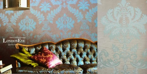 【LondonEYE】奢華璀璨COLOR系列 • 施華洛世奇水鑽 • 巴洛克大馬士革壁紙 • 湖水藍/粉紅