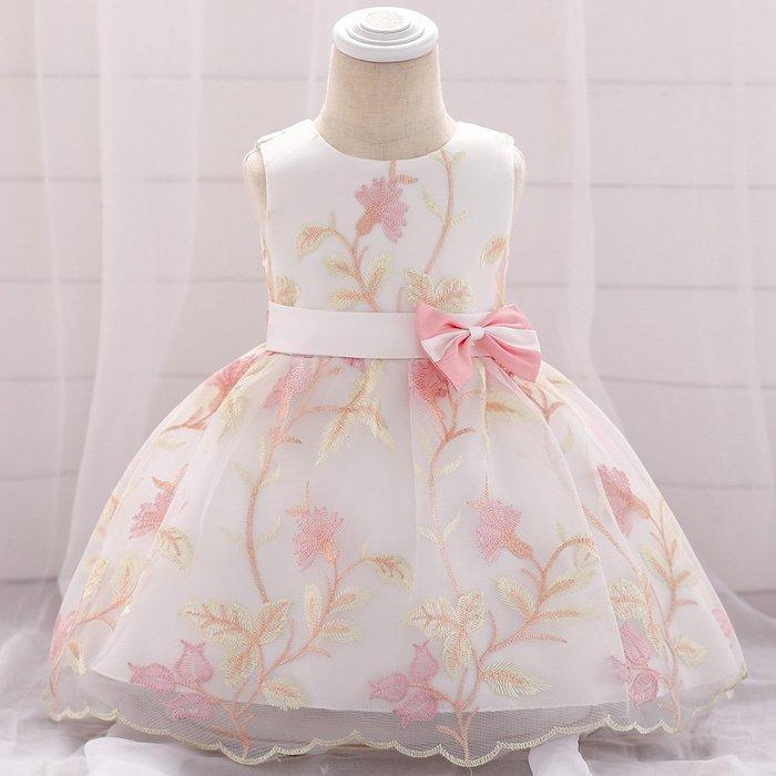 現貨 刺繡花朵嬰幼公主禮服