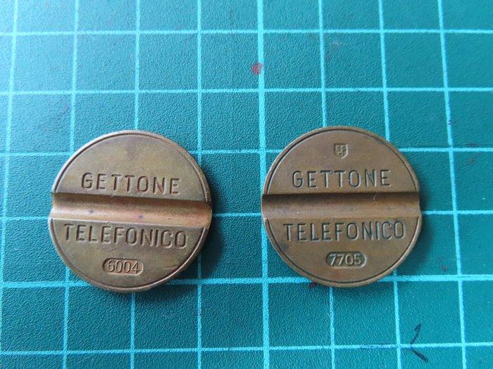 義大利電話令牌(代幣)兩枚GETTONE義大利語意思[令牌]6004是1960年4月、7705是1977年5月