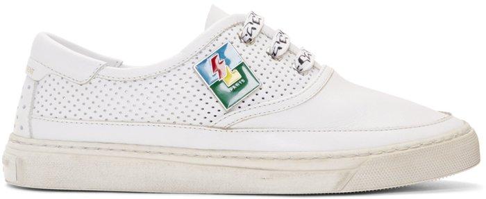 ~The Black Dan Moccani~ [四折] YSL 聖羅蘭 Andy 沖孔洗舊 精品低筒球鞋/小白鞋
