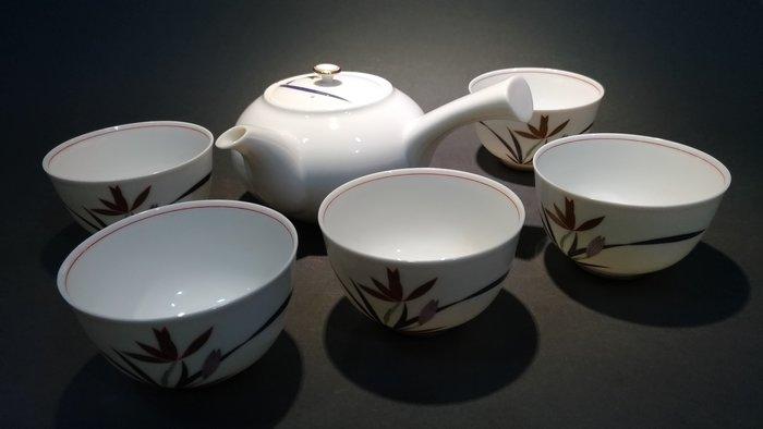 ☆清沁苑☆日本茶道具~香蘭社 白瓷 紅紫金線蘭紋茶器組(側把急須+湯吞5枚)~d534