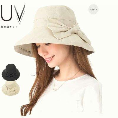 HAT 日本帽子女帽子夏天棉麻透氣防紫外線遮陽帽蝴蝶結棉麻漁夫帽遮臉防晒布帽 可折疊